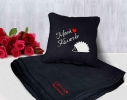 Набор подушка и плед с вышивкой Моей Колючке! Черный фото
