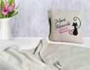 Набор подушка и плед с вышивкой Моей Кошечке! Бежевый фото