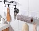 Держатель с крючками для бумажных полотенец, пищевой пленки, чашек фото 1