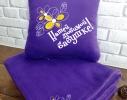 Набор подушка и плед с вышивкой Любимой бабушке Фиолетовый фото