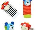 Набор носочки + браслетики с погремушками в виде собачки и коровки фото