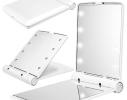 Карманное зеркало складное с LED подсветкой белое фото 1