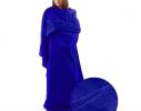Плед с рукавами двухслойный флис Premium Синий ультрамарин фото