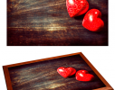 Поднос с подушкой Сердечки фото