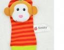 Набор носочки + браслетики с погремушками в виде обезьянки и панды фото 2