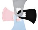 Маска защитная трехслойная многоразовая для детей Голубая фото 3