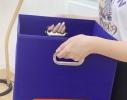 Корзина для белья и игрушек, кофр, органайзер с ручками Синяя фото 4