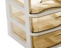 Мини - комод пластиковый прозрачный на 3 секции, коричневый фото 1