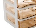 Мини - комод пластиковый прозрачный на 4 секции коричневый фото 1