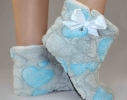 Тапочки - угги комнатные Teddy Серые с голубыми сердечками фото
