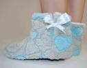Тапочки - угги комнатные Teddy Серые с голубыми сердечками фото 1