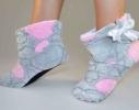 Тапочки - угги комнатные Teddy Серые с розовыми сердечками фото 1