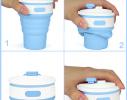 Чашка складная силиконовая Collapsible 5332 350мл, голубая фото 3