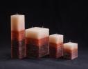 Свеча трехцветная карамельно-коричневая Квадрат фото 1