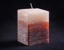 Свеча трехцветная карамельно-коричневая Квадрат фото