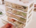 Мини - комод пластиковый прозрачный на 4 секции коричневый фото 3