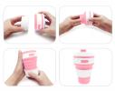 Чашка складная силиконовая Collapsible 5332 350мл, розовая фото 3