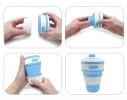 Чашка складная силиконовая Collapsible 5332 350мл, голубая фото 4
