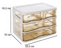 Мини - комод пластиковый прозрачный на 3 секции, коричневый фото 4