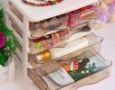 Мини - комод пластиковый прозрачный на 4 секции коричневый фото 4