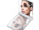 Карманное зеркало складное с LED подсветкой белое фото 5