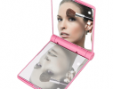 Карманное зеркало складное с LED подсветкой розовое фото 7