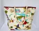 Пляжная текстильная летняя сумка для пляжа и прогулок цветочный принт фото