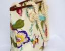 Пляжная текстильная летняя сумка для пляжа и прогулок цветочный принт фото 3
