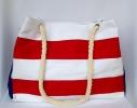 Пляжная текстильная сумка с морским принтом в полоску фото 2