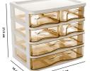 Мини - комод пластиковый прозрачный на 4 секции коричневый фото 6