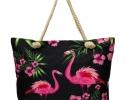 Пляжная сумка Черная с принтом Flamingo фото