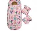 Конверт -кокон меховой Baby XS Рисунки на розовом фоне фото 3