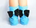 Тапочки Бантики голубые с черным бантом фото