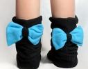 Тапочки Бантики черные с голубым бантом фото