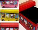 Ящик - пуфик для игрушек Веселый автобус с зверушками фото 1