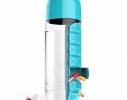 Бутылка для воды с органайзером для таблеток и витаминов голубая, 600мл фото