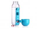 Бутылка для воды с органайзером для таблеток и витаминов голубая, 600мл фото 1