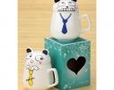 Чашка с крышкой Кот в галстуке, 400мл фото