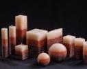 Свеча трехцветная карамельно-коричневая Квадрат фото 2