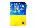 Кожаная кредитница на кнопке Флаг Украины фото 2