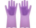 Силиконовые перчатки для уборки и мытья посуды Magic Silicone Gloves Сиреневые фото