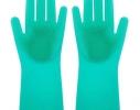 Силиконовые перчатки для уборки и мытья посуды Magic Silicone Gloves Бирюзовые фото