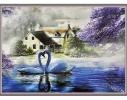 Набор для вышивки картины Влюбленные Лебеди 83х63см фото