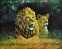 Набор для вышивки картины Львиная пара 77х61см фото