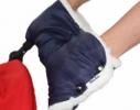Муфта синяя для коляски с опушкой фото 1