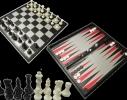 Мини Набор 3в1 шашки нарды шахматы 15 см фото 1