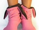 Тапочки Зайчики розовые с серыми ушами фото 1