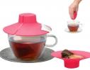 Силиконовая крышка с отжимом Tea Bag Buddy, Малиновая фото 3