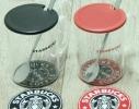 Кружка стеклянная с крышкой и подставкой Starbucks фото