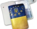 Кожаная кредитница на кнопке Флаг Украины 20 карт фото 2